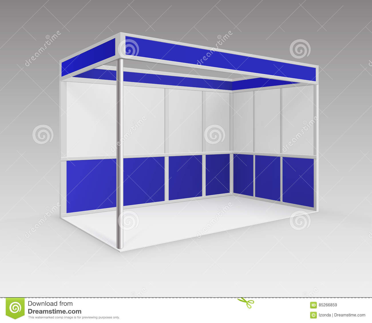 Exhibition Stand Vector : Blank white trade exhibition stand cartoon vector