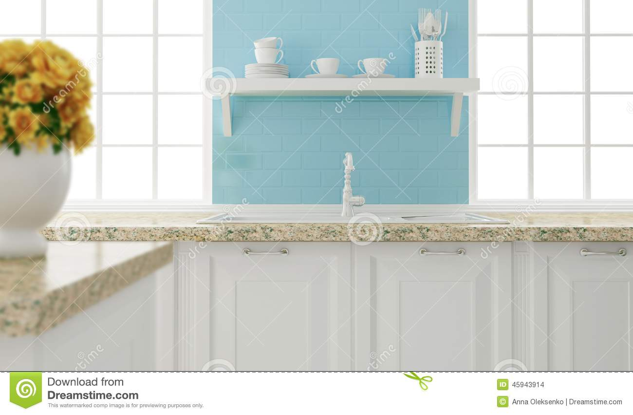 white and blue kitchen design. stock photo - image: 45943914