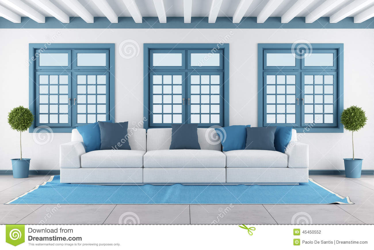 White And Blue Living Room white and blue living room stock illustration - image: 45450552