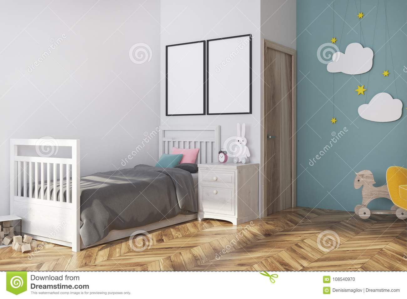 white blue nursery corner gray bed yellow armchair cloud decoration two vertical posters d rendering mock up interior