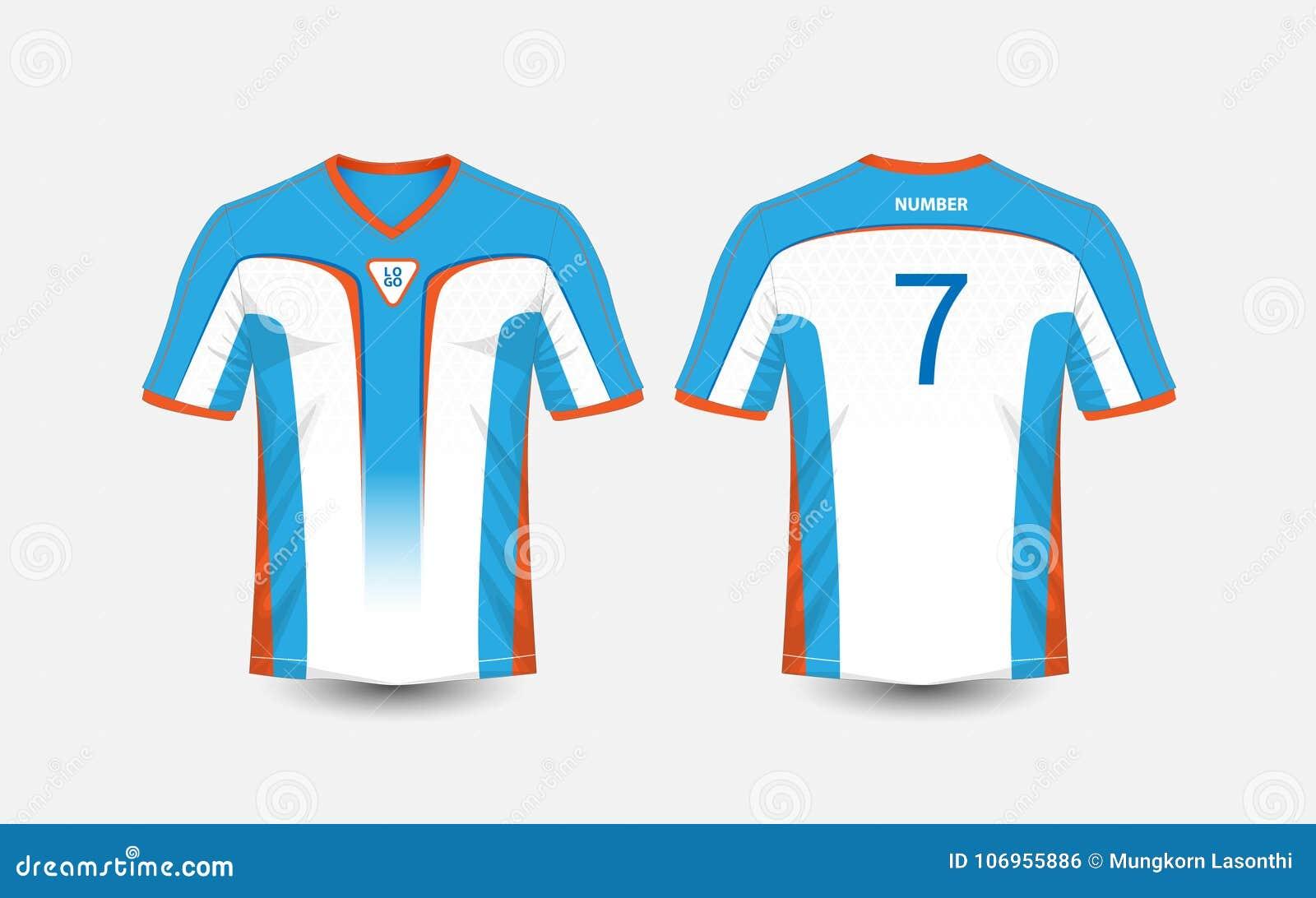 2f673a39 White, blue and orange pattern sport football kits, jersey, t-shirt design