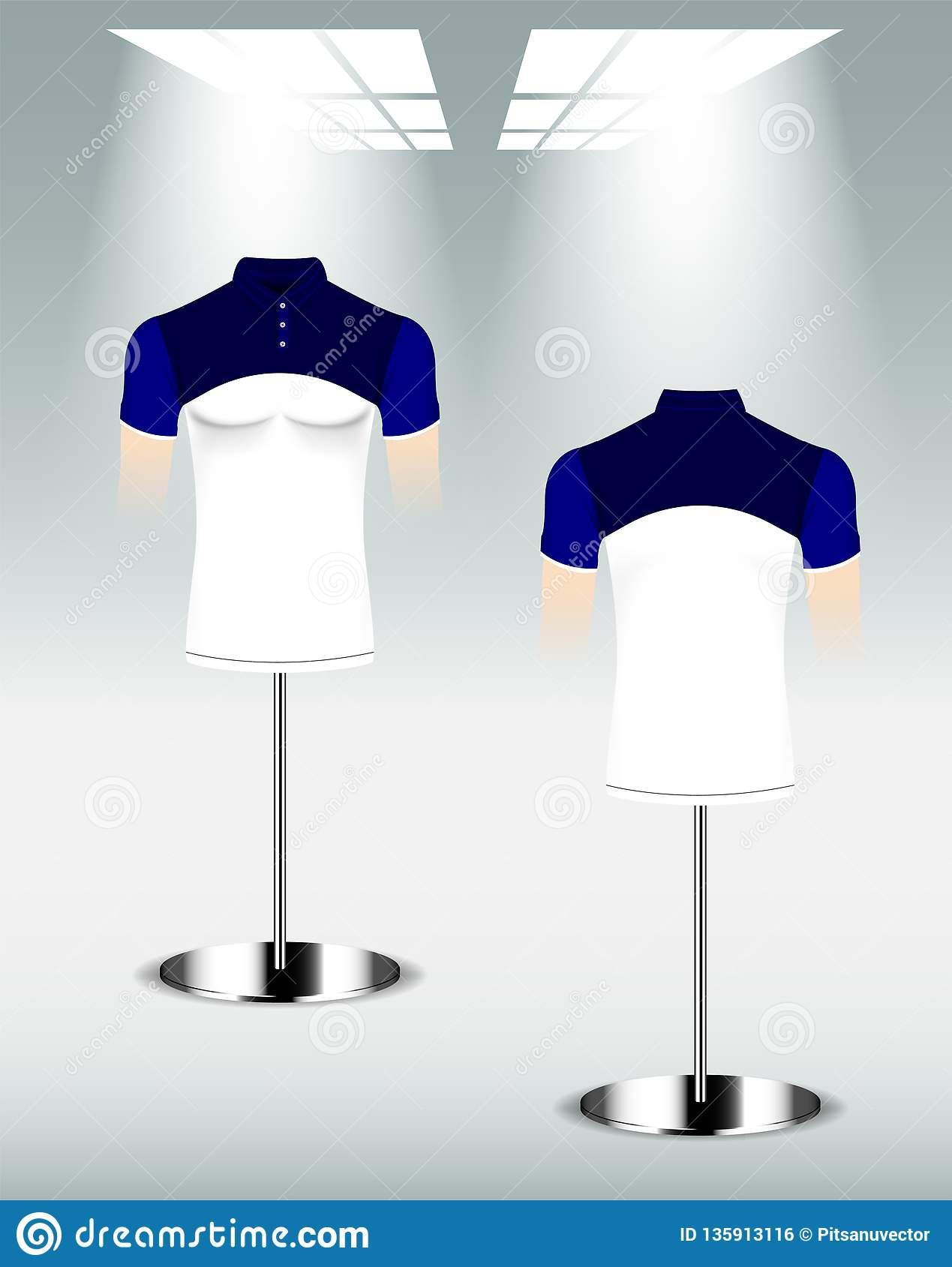 White And Blue Polo Shirt Design Back And Front Template