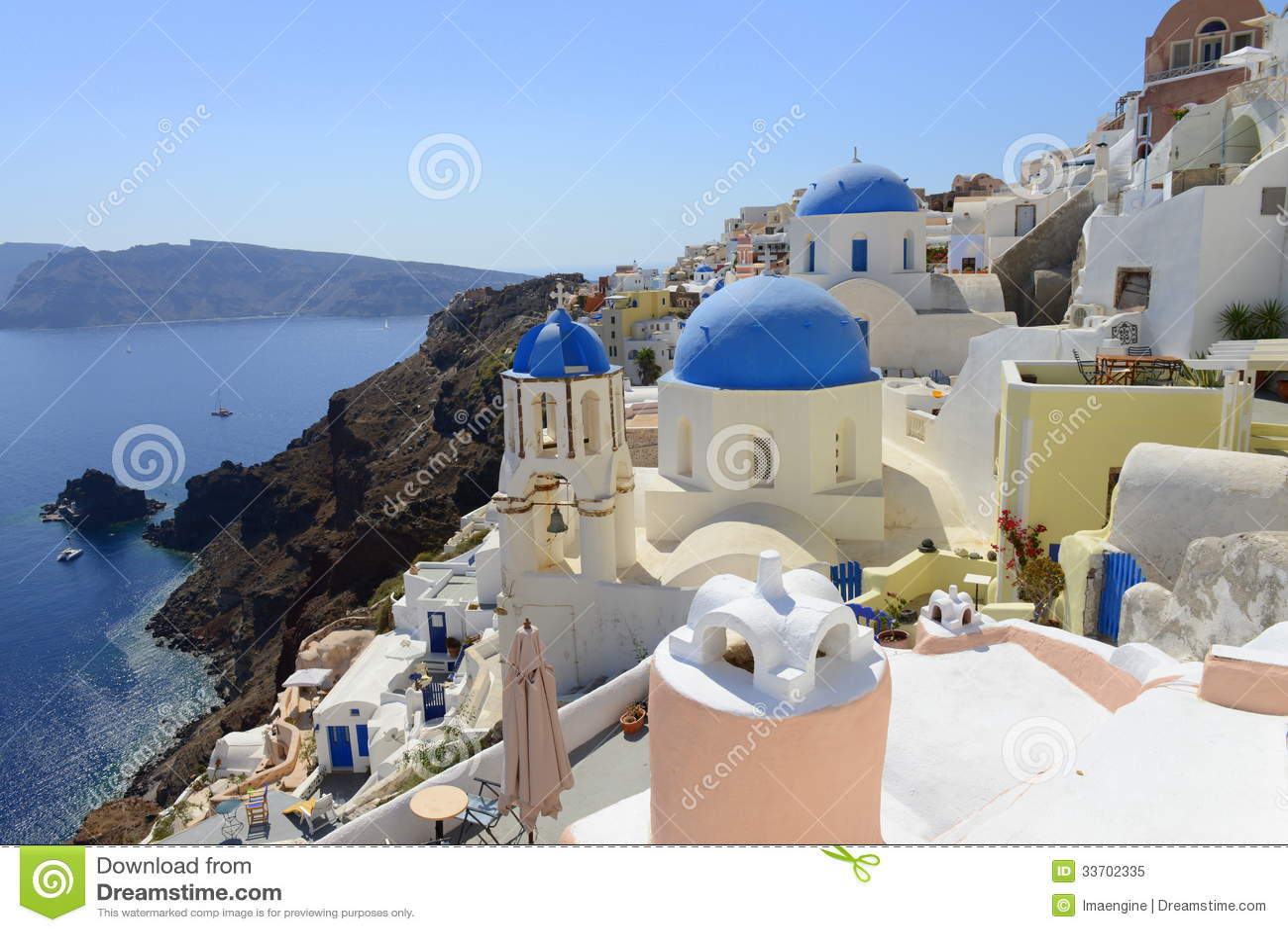 White And Blue Of Santorini Oia Village Over Aegean Sea