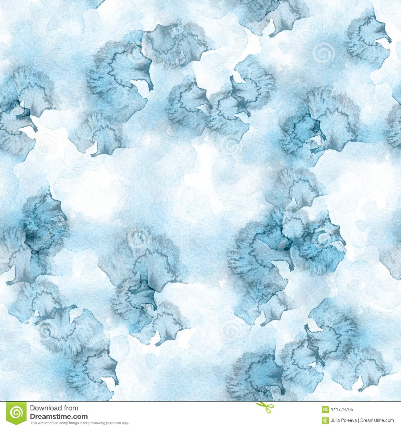 White and blue seamless pattern watercolor blots