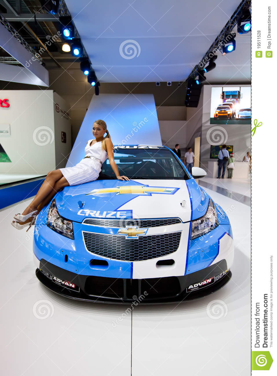 White And Blue Sport Car Chevrolet Cruze Editorial Stock ...