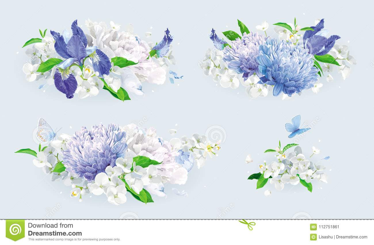 White And Blue Summer Flowers Bouquet Set Stock Vector ...