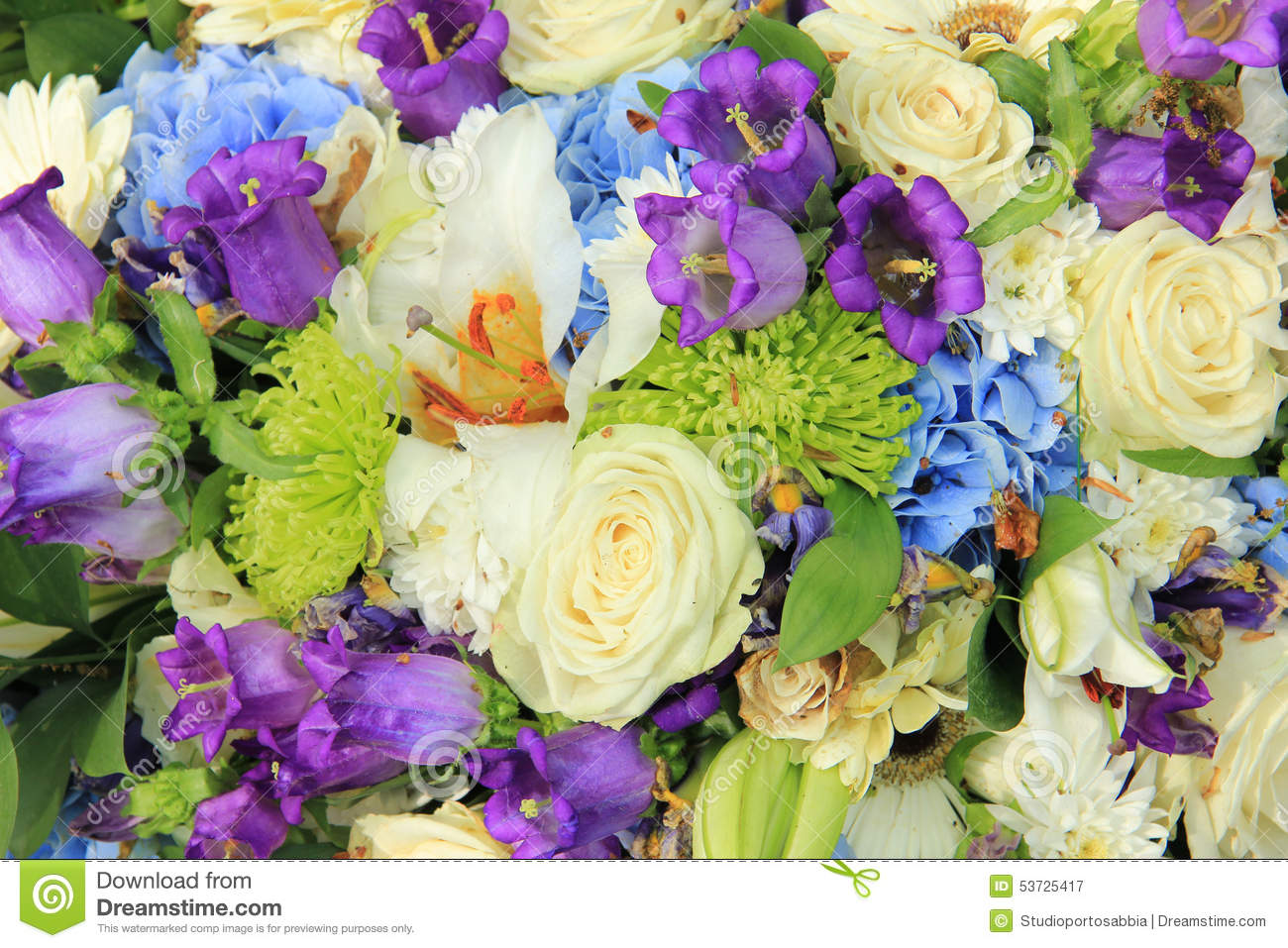White And Blue Wedding Bouquet Stock Image Image Of Green Bride