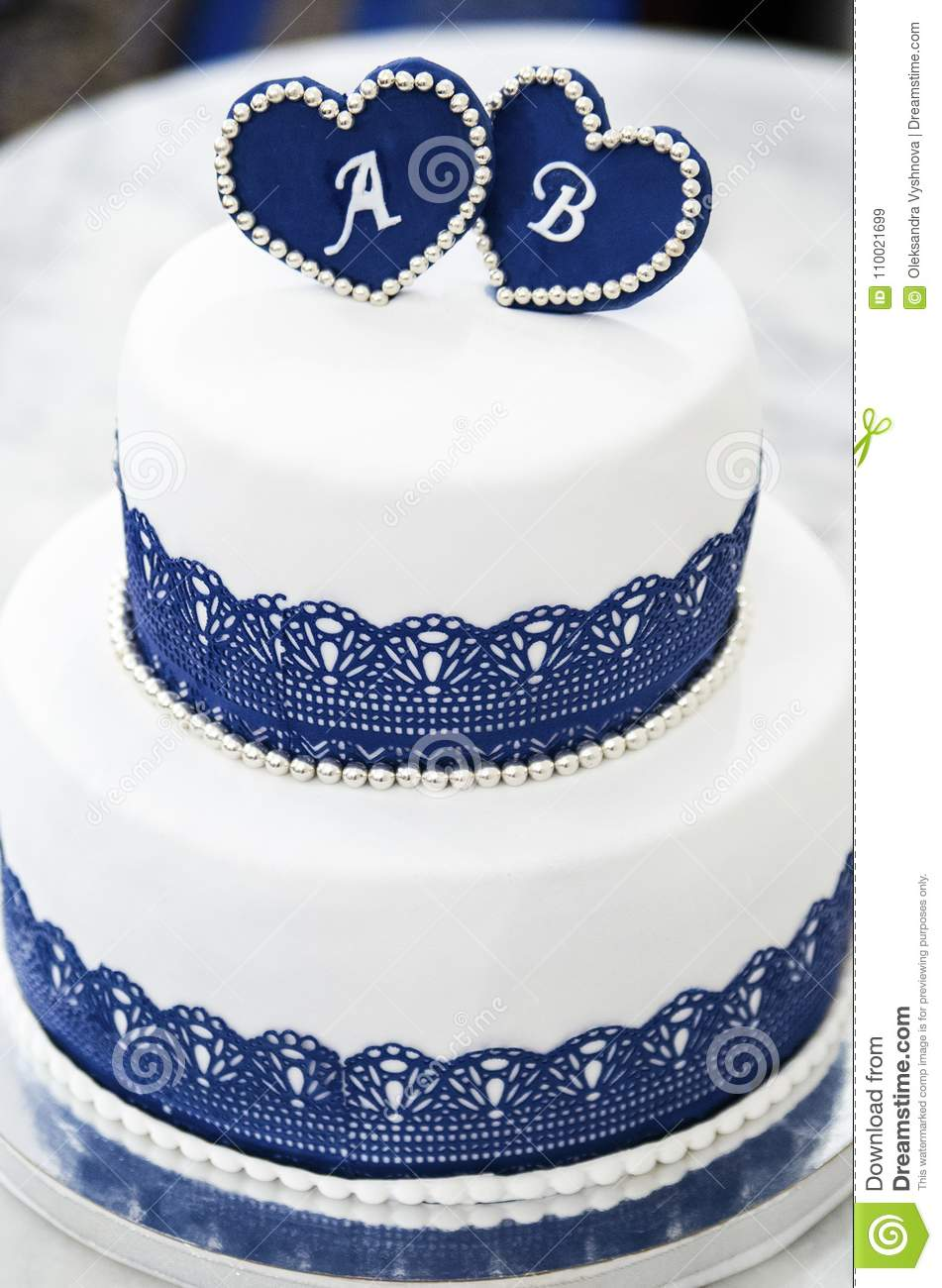 White Blue Wedding Cake With Hearts With Letters Stock Image - Image ...