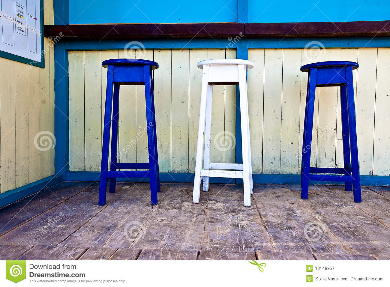 White Amp Blue Wooden Bar Chairs Stock Image Image Of Wood