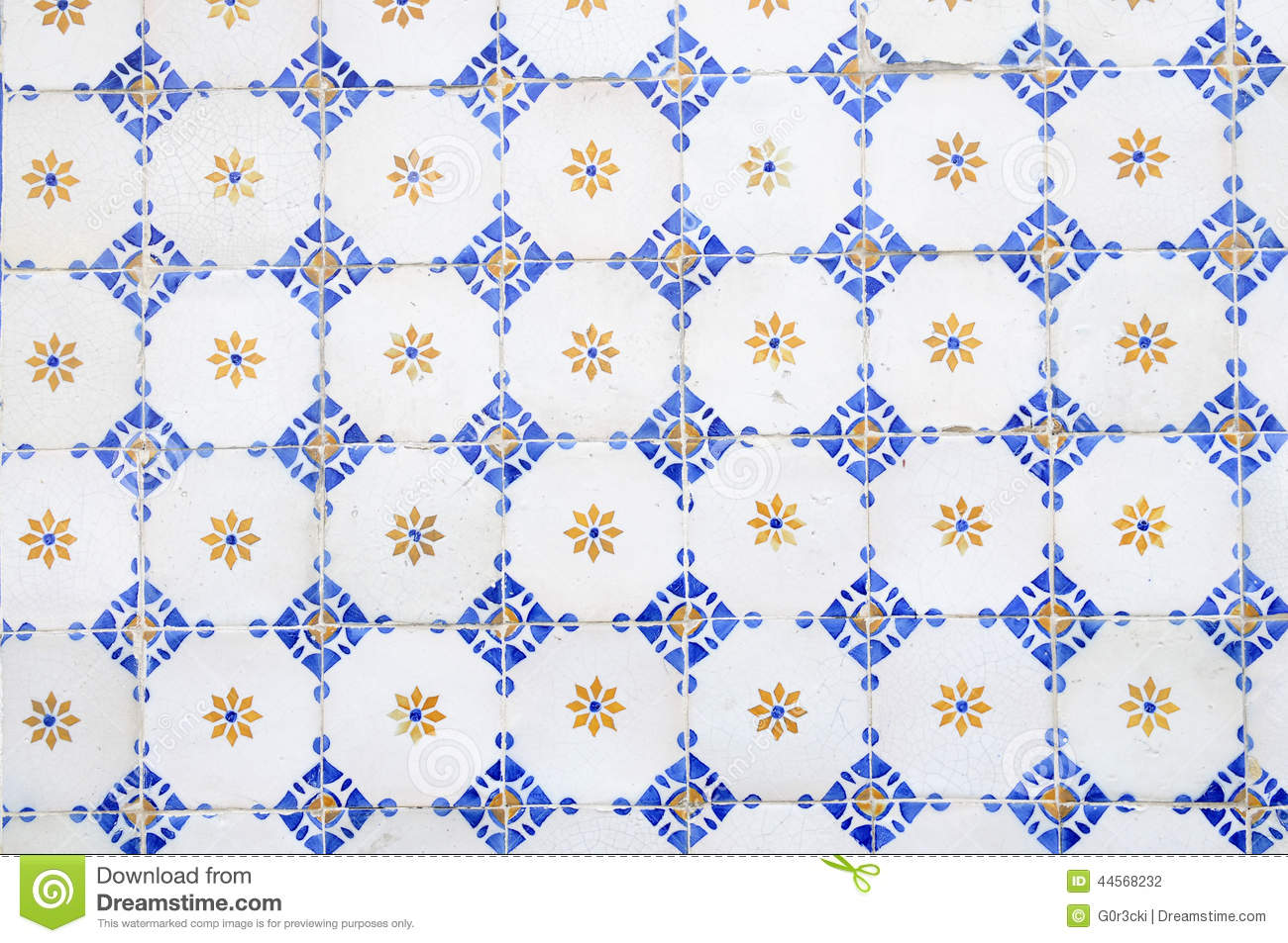 Hand painted glazed tiles white blue yellow abstract for Photo carrelage cuisine