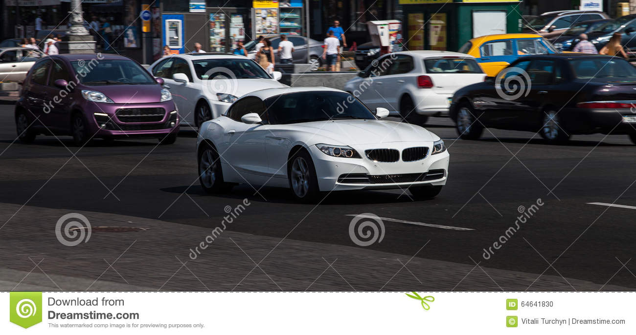White Bmw In City Stock Photo Image Of Fast Automotive 64641830