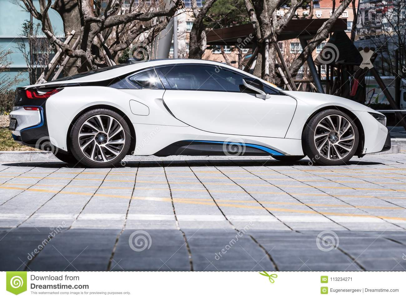 white bmw i8 plug in hybrid sports car editorial photo image of