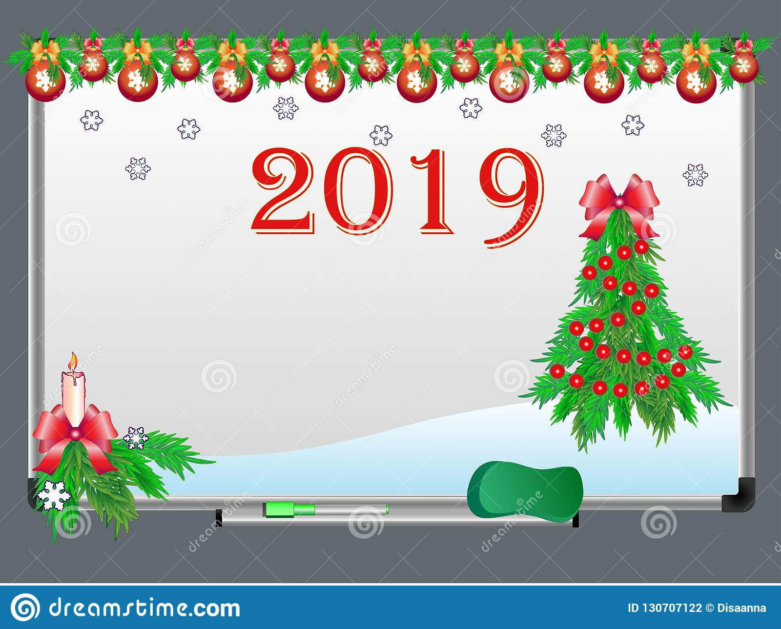 White Board With Christmas And New Year Decorations And The