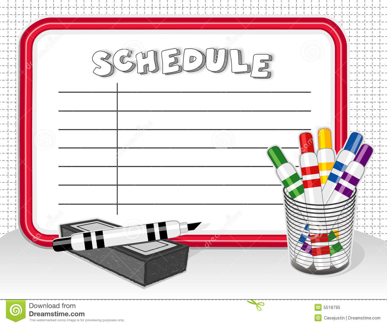 White Board Schedule, Markers, Eraser Royalty Free Stock Photo - Image ...