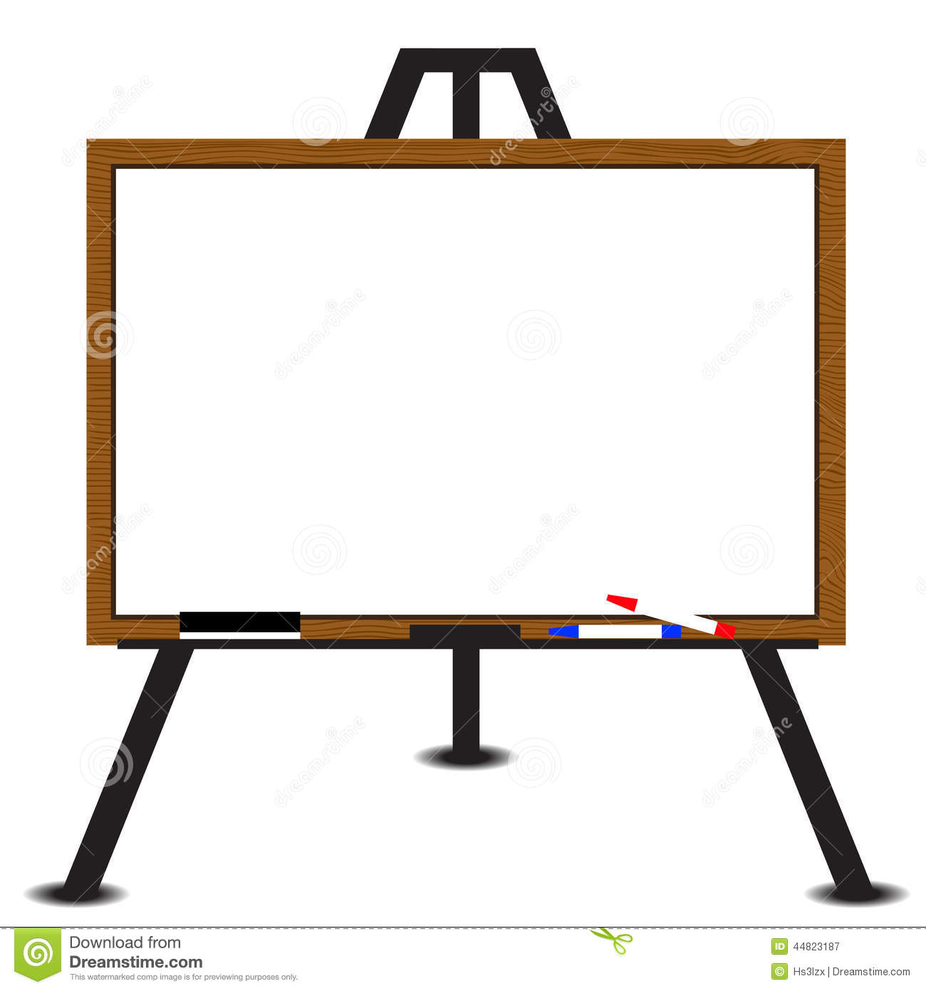 white board wood frame on easel