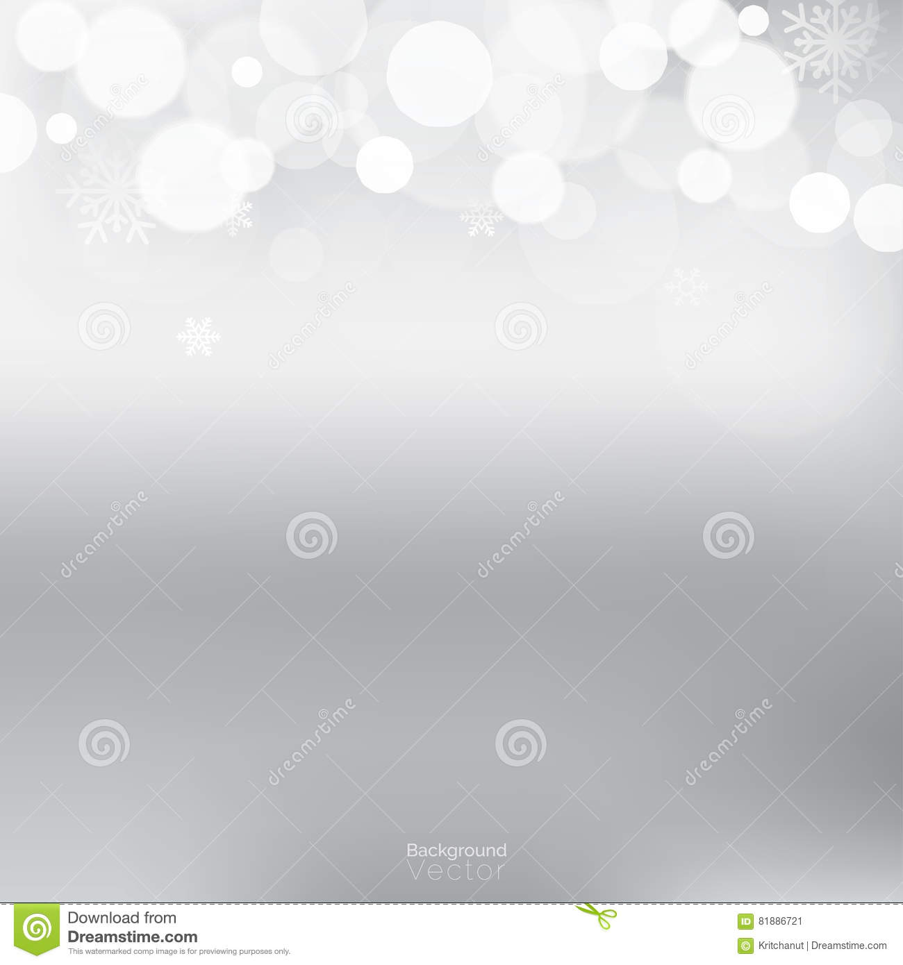 white bokeh and snowflakes border design on gradient light gray background christmas and new year theme