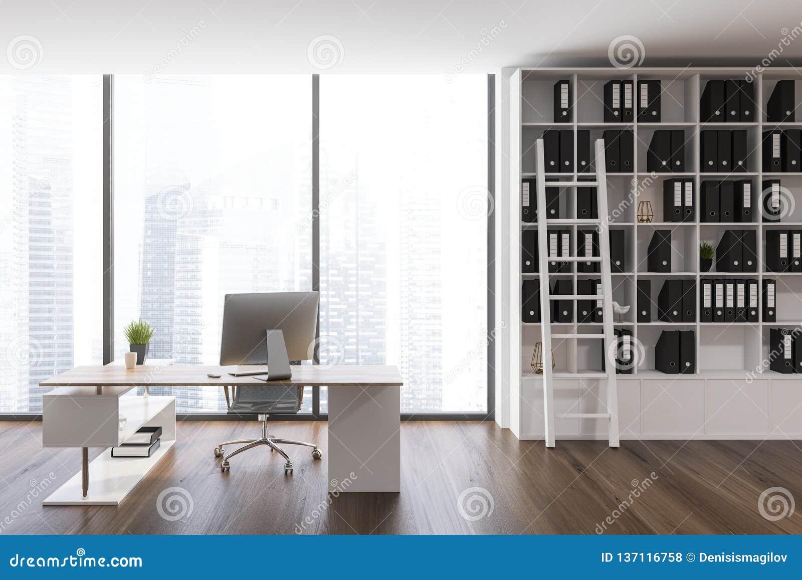 White Bookcase Ceo Office Interior Stock Illustration