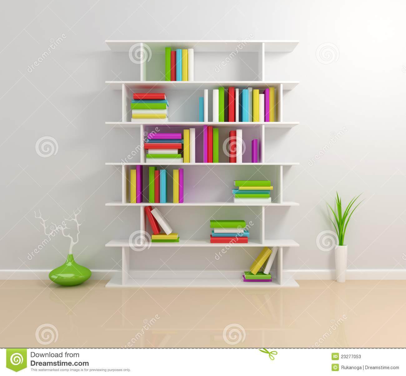 White Bookshelf With A Colorful Books. Stock Photos - Image: 23277053