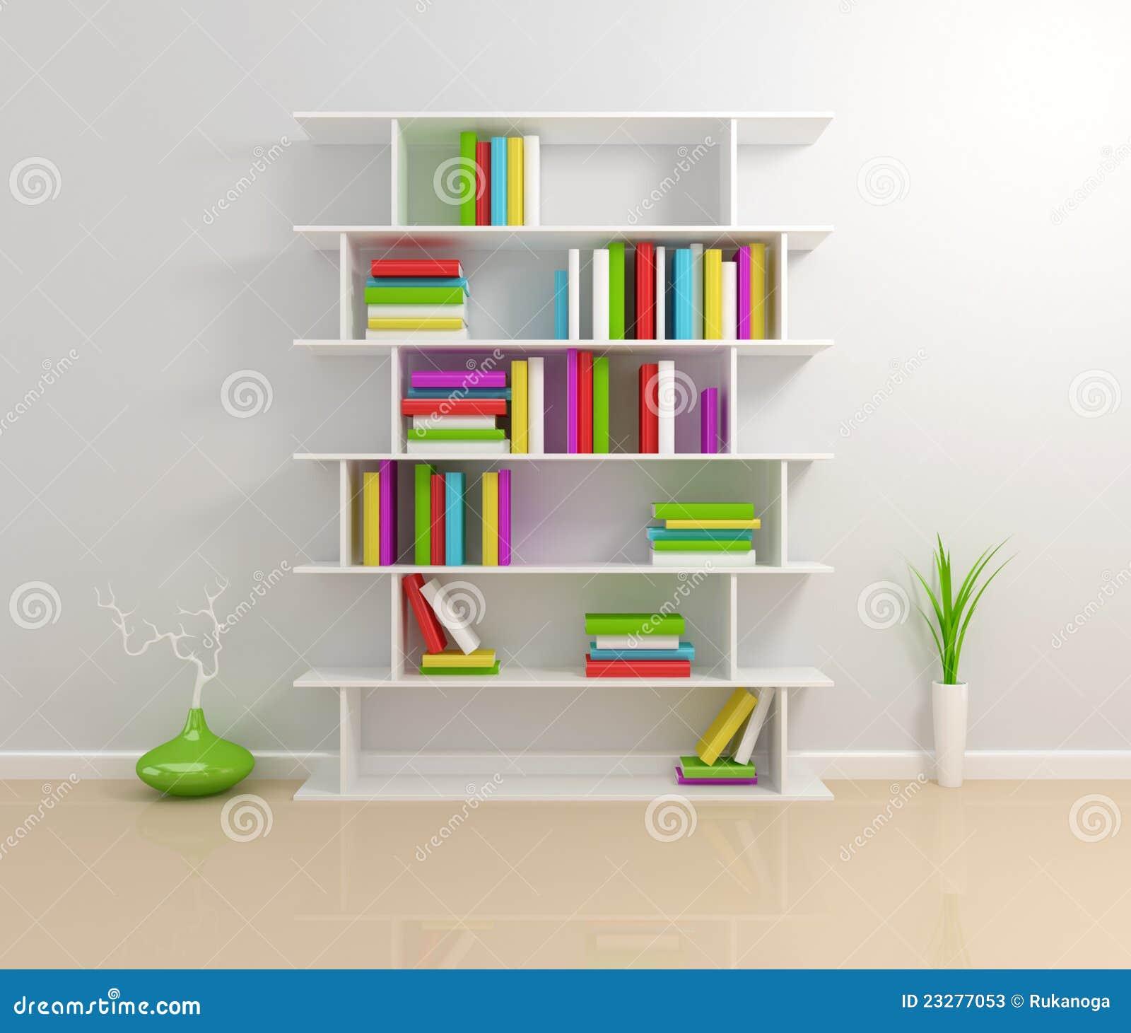 White bookshelf with a