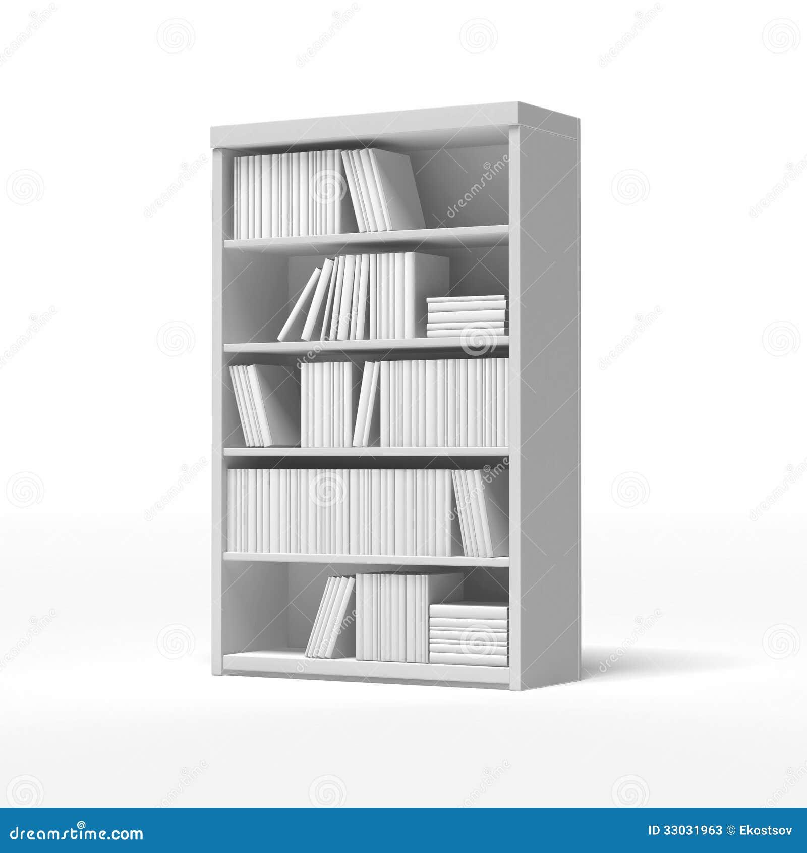 isolated white ... - White Bookshelves Stock Photos - Image: 33031963