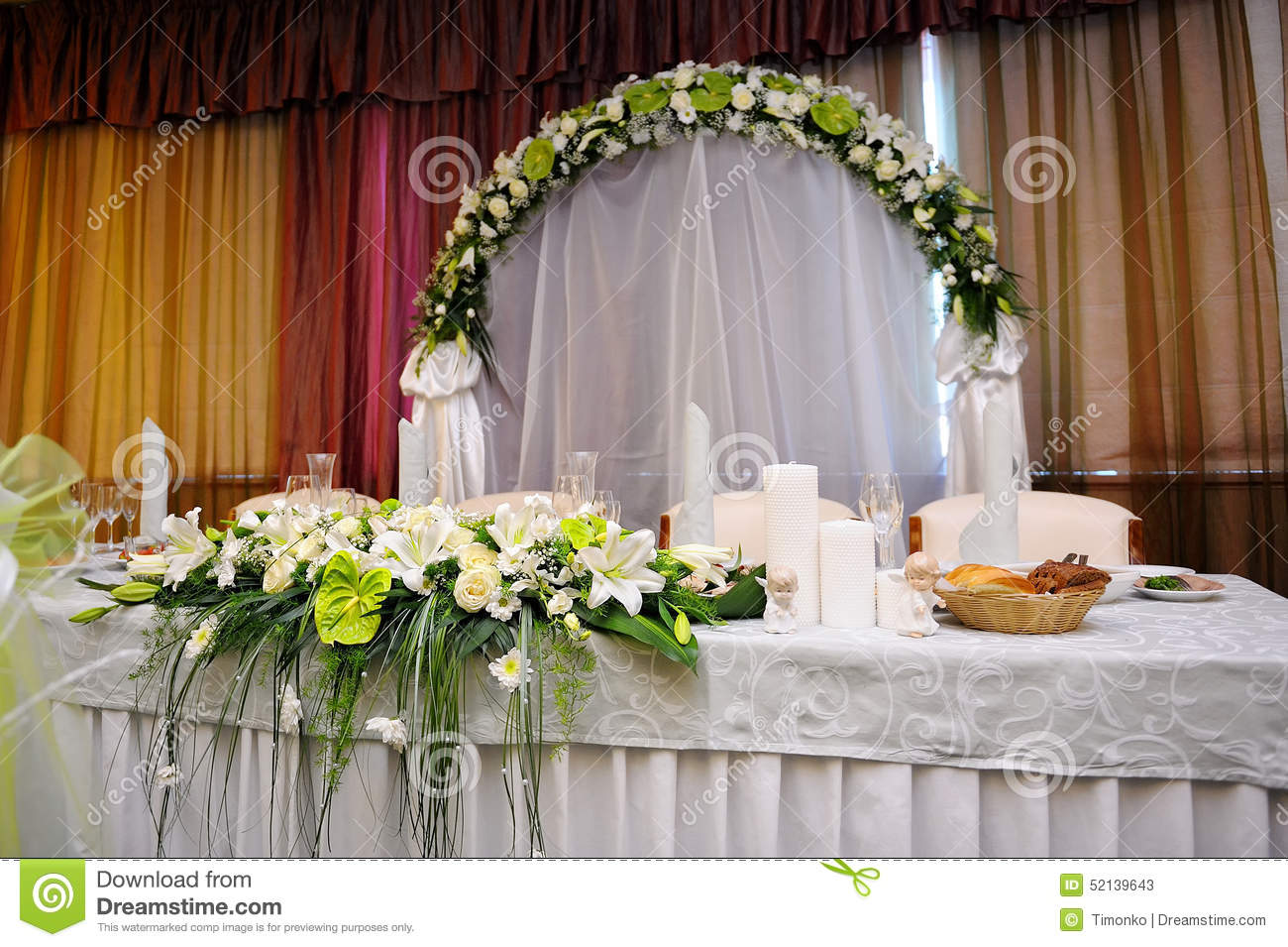 White Bouquet Of Flowers On A Festive Table Bride And Groom. Dinner, Dish.