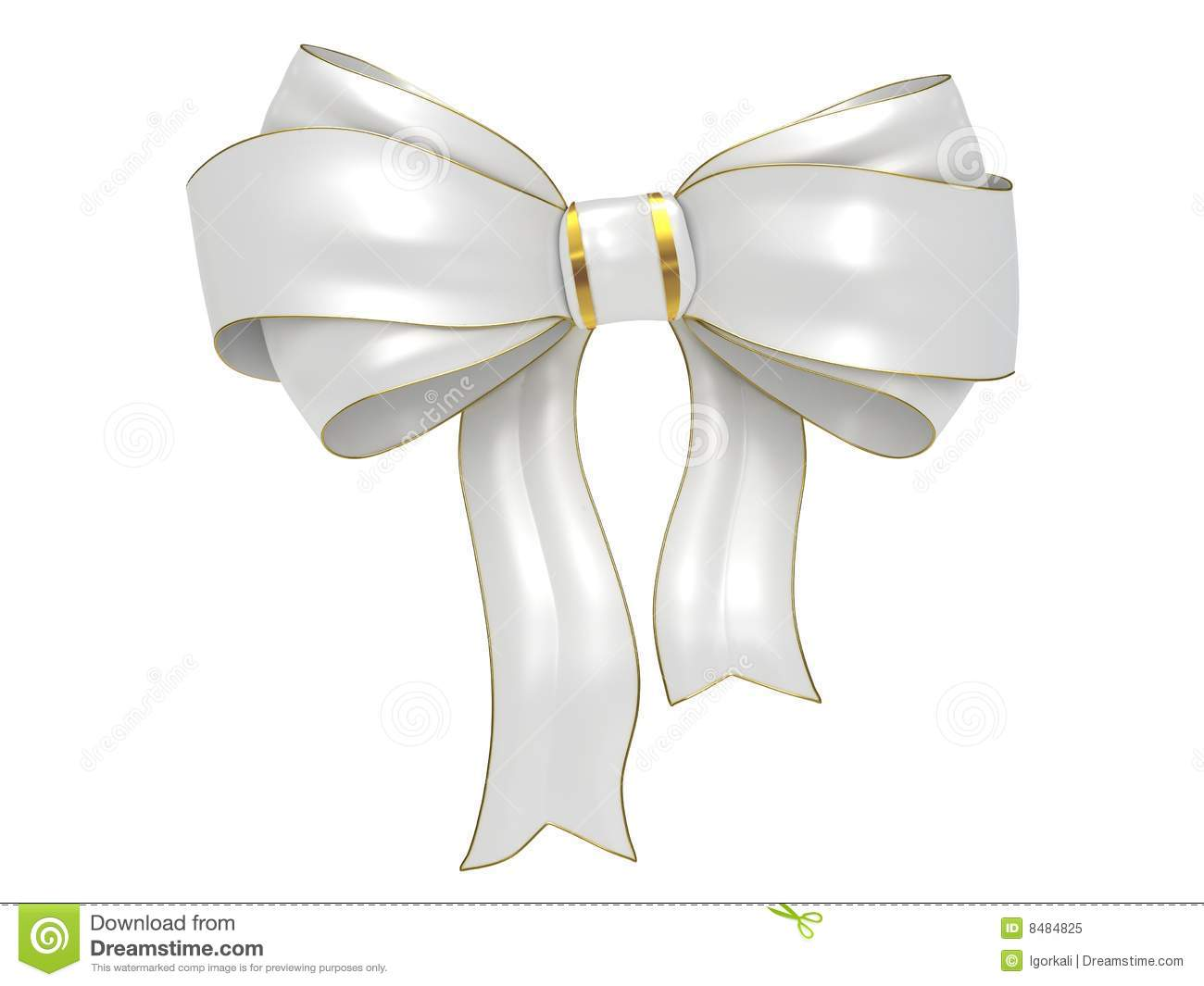 White Bow With Gold Stripes