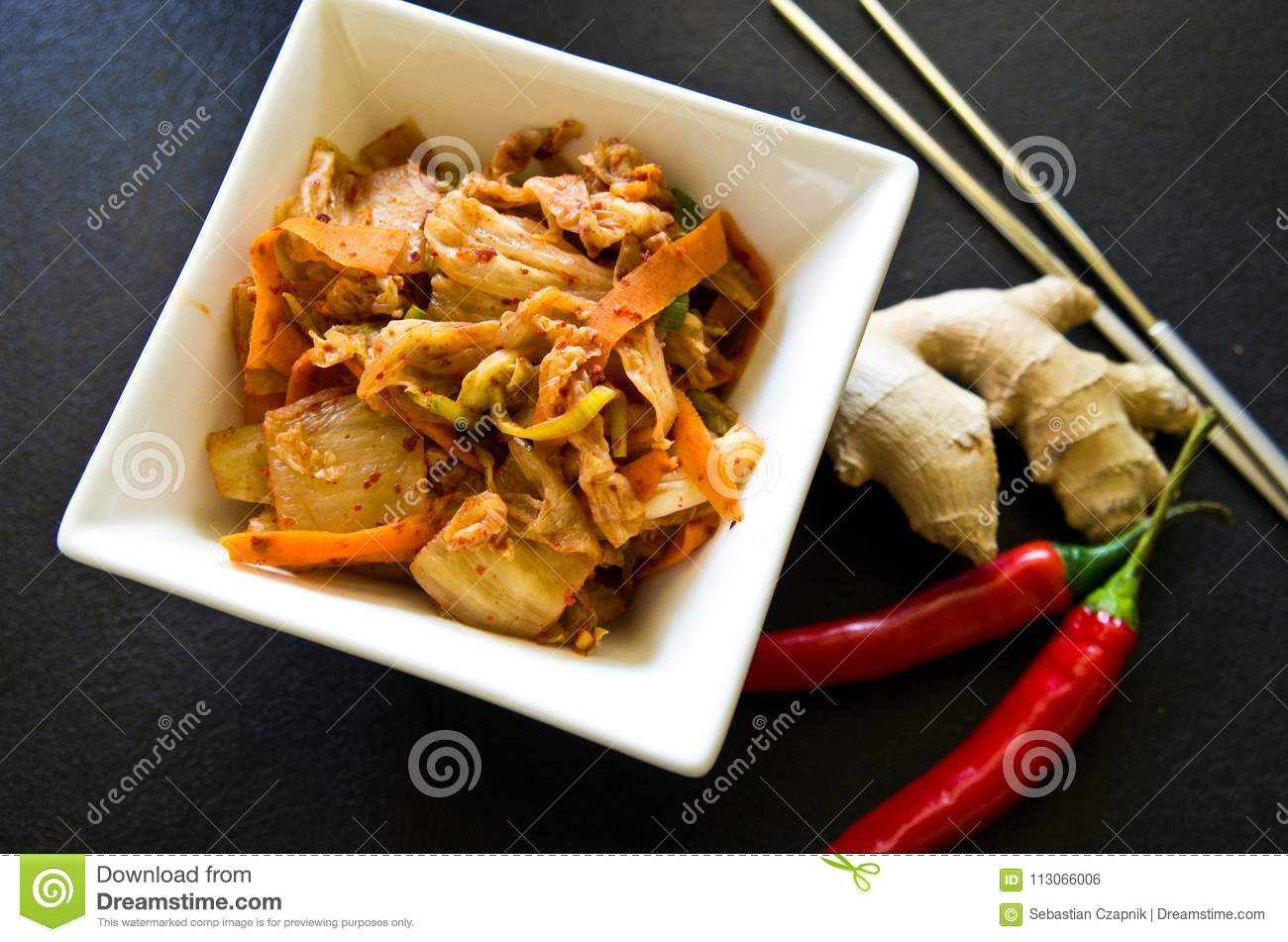 White Bowl Of Korean Kimchi Food With Chopsticks Stock Photo Image Of Food Asia 113066006