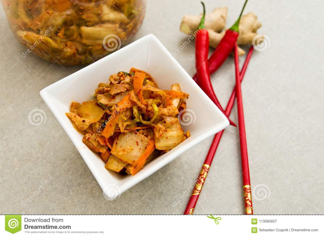 White Bowl Of Korean Kimchi Food With Chopsticks Stock Image Image Of Series Eastern 113065657