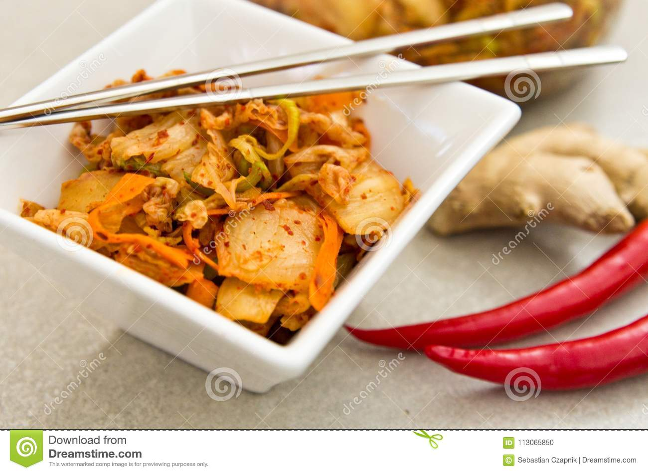 White Bowl Of Korean Kimchi Food With Chopsticks Stock Photo Image Of Series Photography 113065850