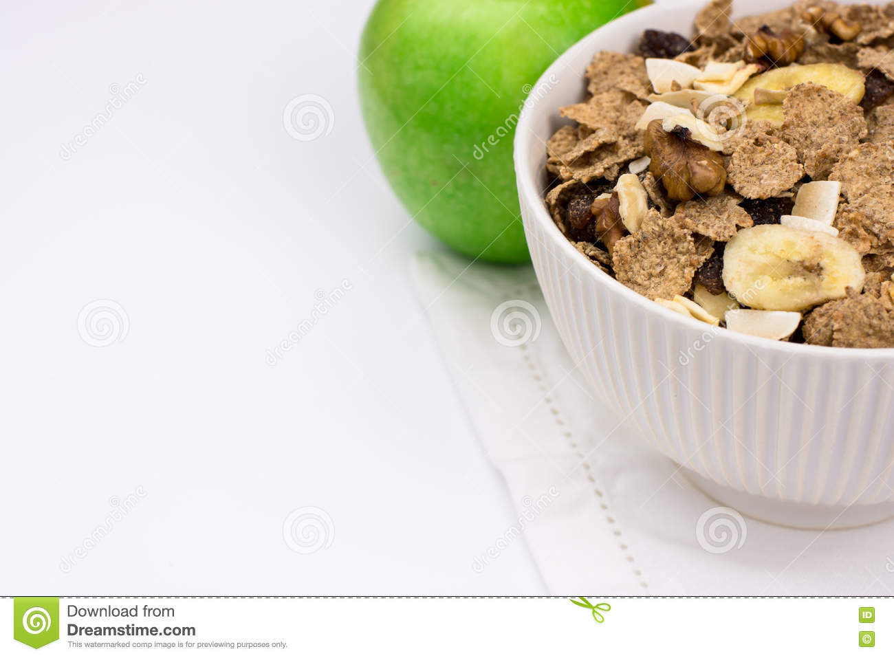 White Bowl With Rye Flakes Muesli On White Towel With