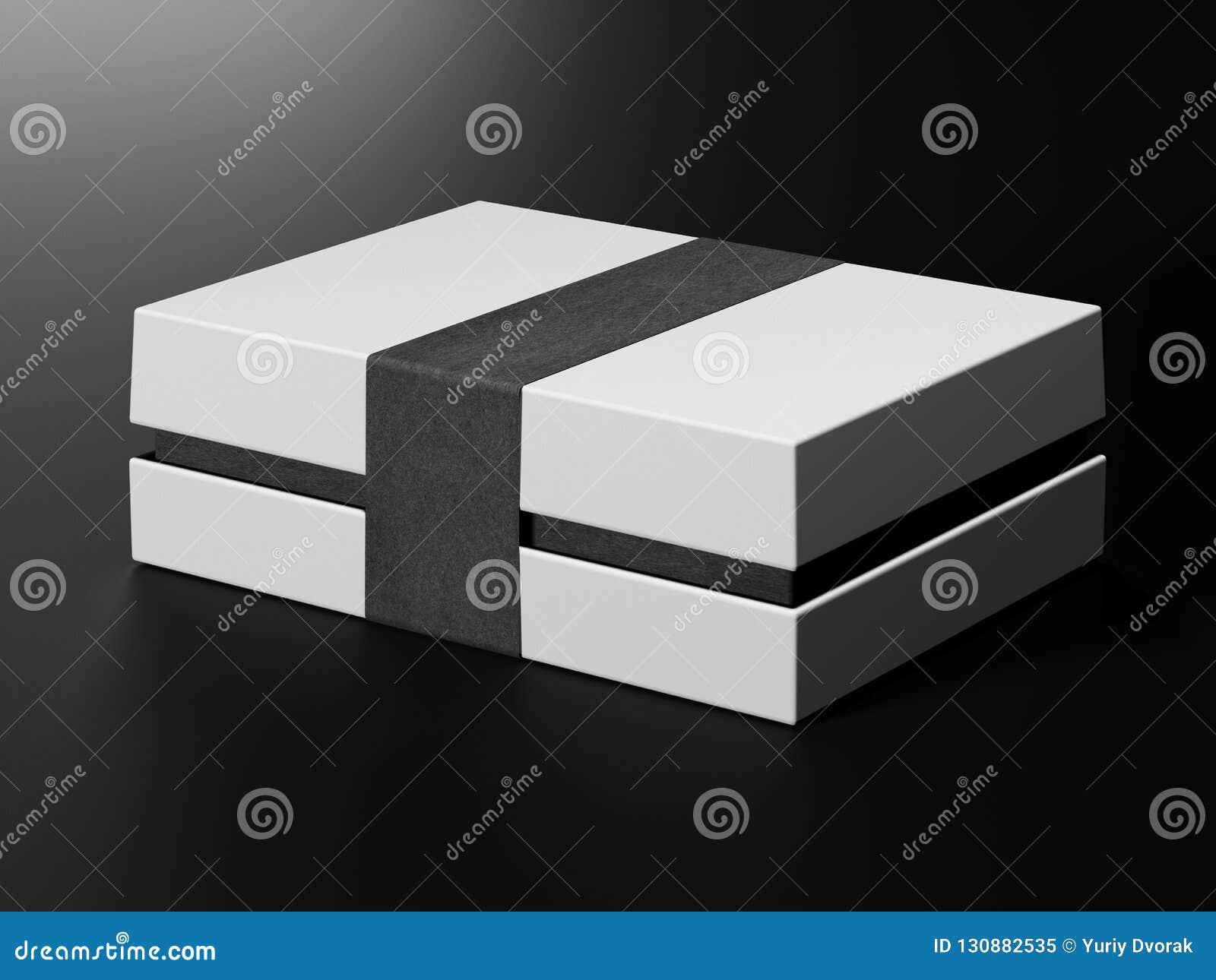 white box mock up blank flat white paper cardboard box template