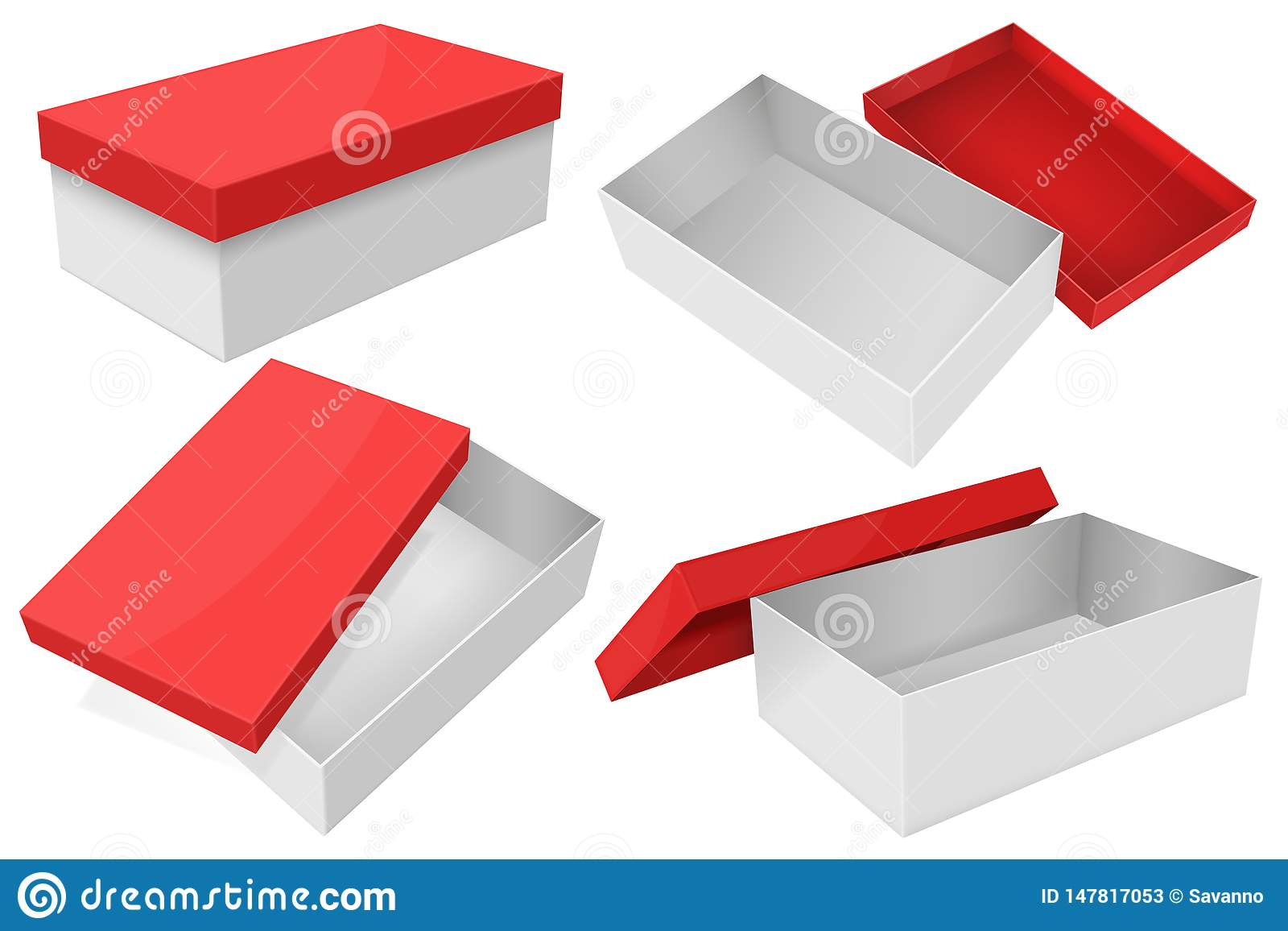 White Box With Red Lid Set Of Gift Boxes Stock Vector