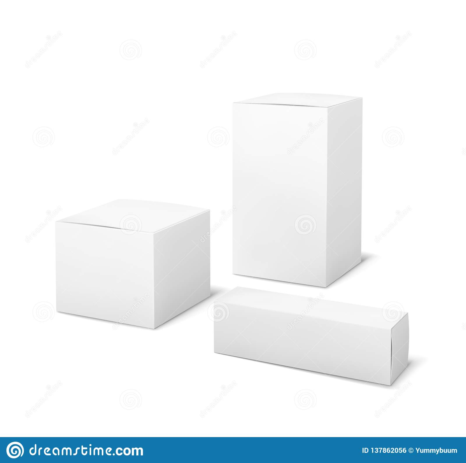 White boxes. Blank package medical and cosmetics box 3d products paper packaging cartons isolated vector mockup