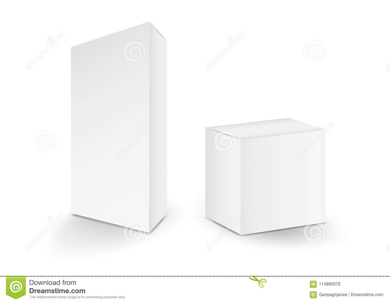 White boxes, Package, 3d box, product design,Vector illustration