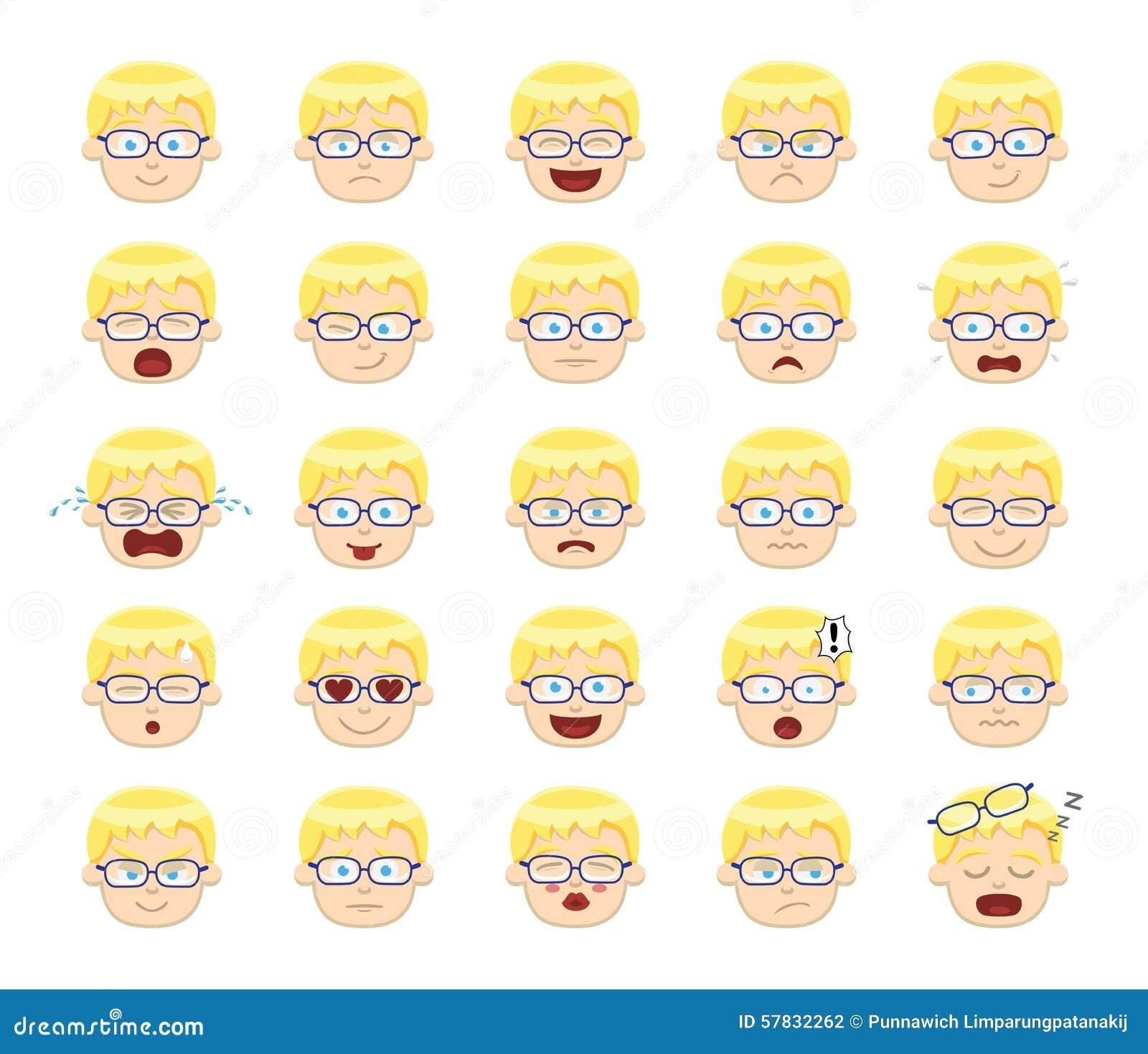 Worksheets Emotion Faces white boy emotion faces vector illustration stock illustration
