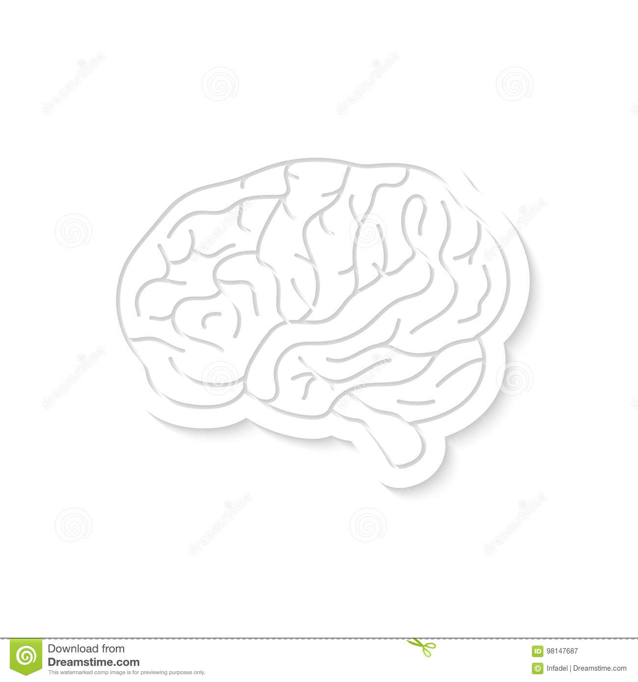 White Brain Icon With Shadow Stock Vector - Illustration of medicine ...