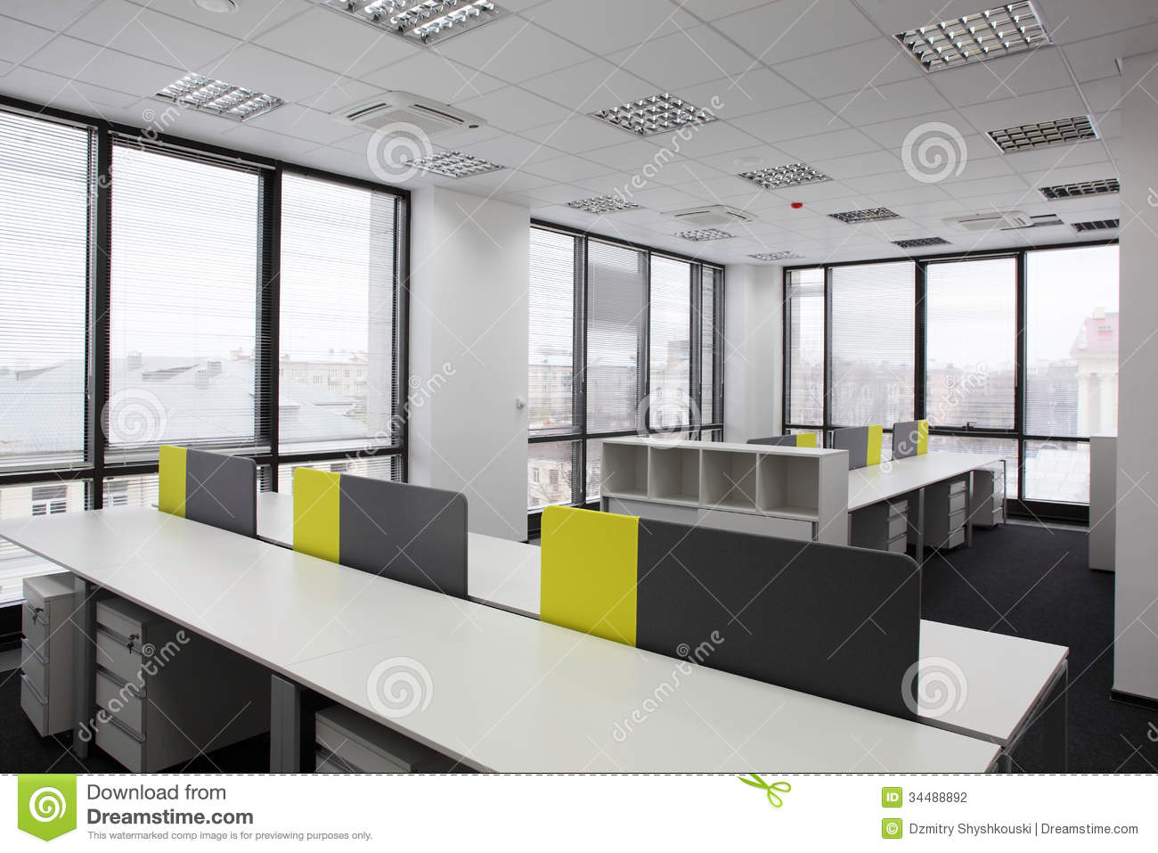 White brand new interior of office stock photography for White office interior