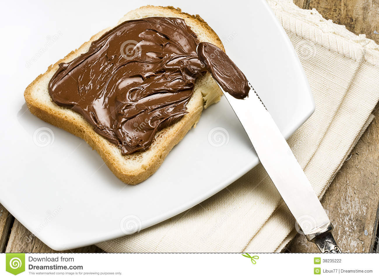 White Bread With Nutella Stock Photography Image 38235222