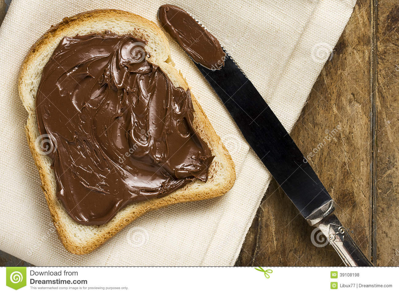White Bread With Nutella Stock Photo Image 39108198