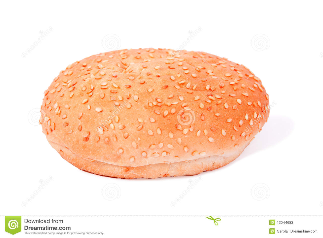 White bread roll with sesame over white.