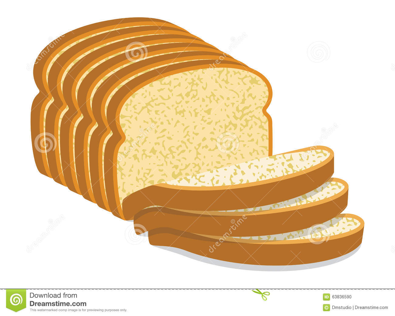 white bread slices, vector