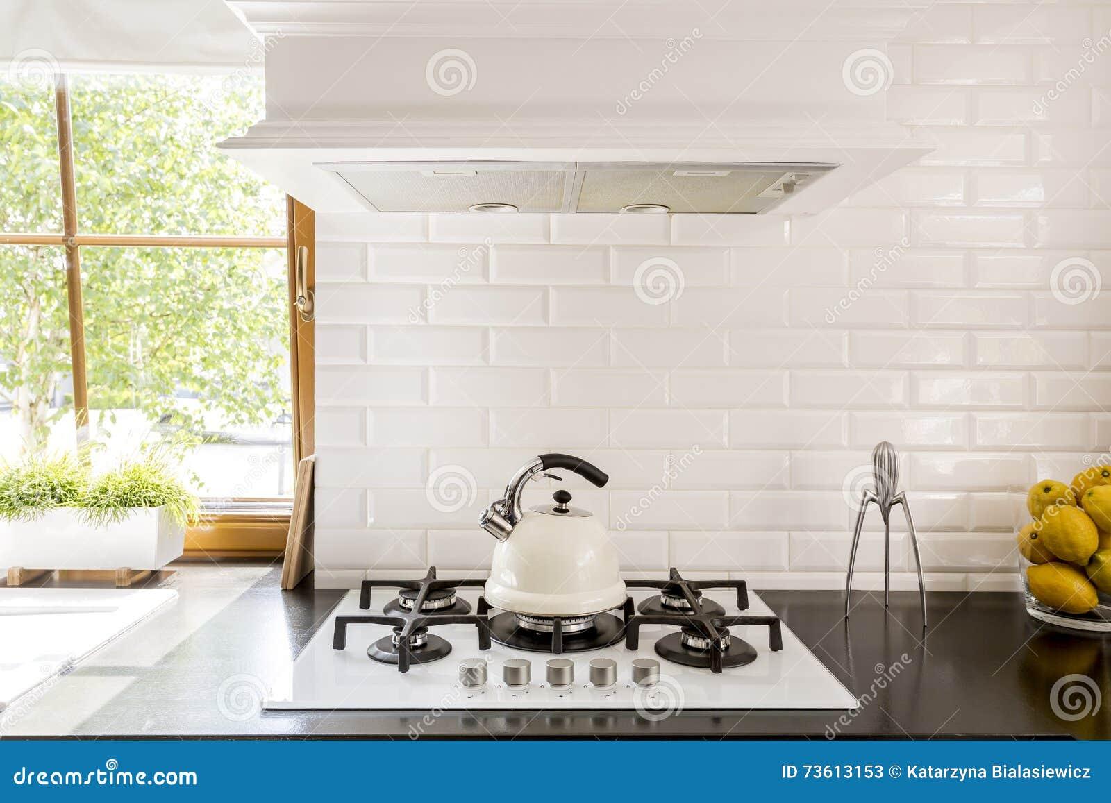 - White Brick Backsplash Idea Stock Image - Image Of Fixture, Modern