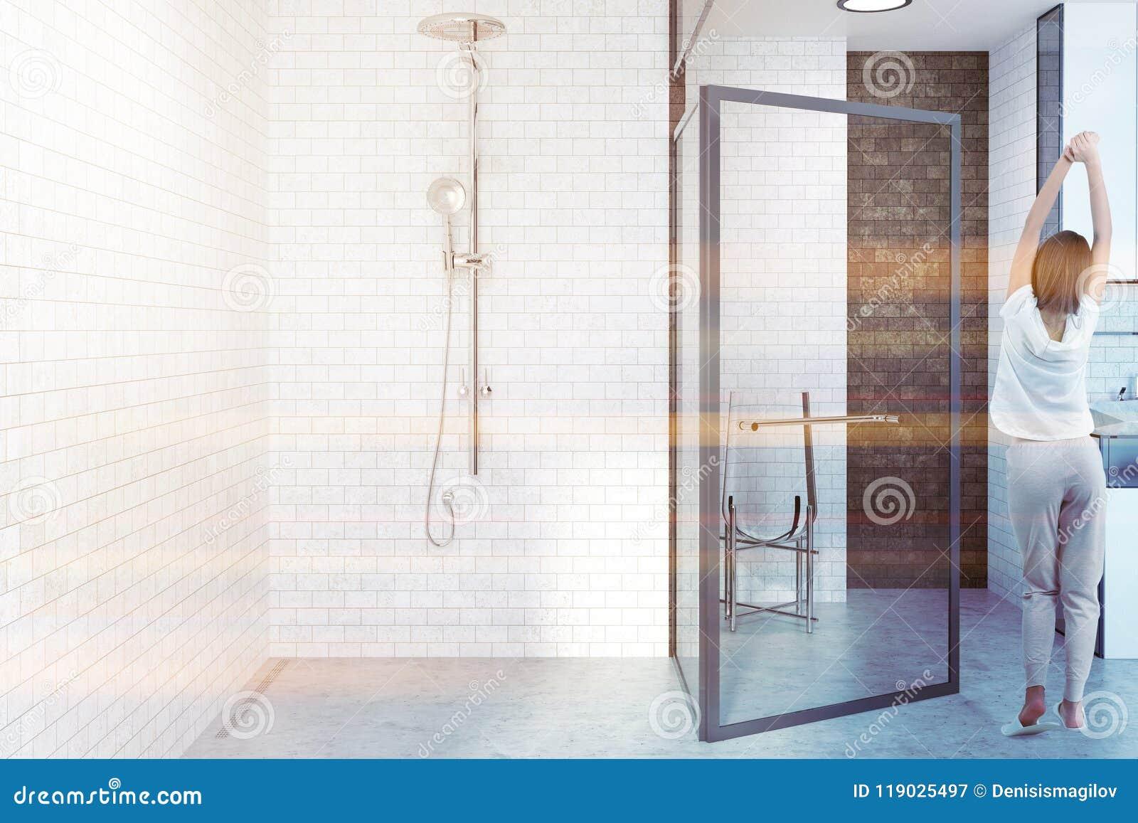 White Brick Bathroom With Glass Door Woman Stock Illustration