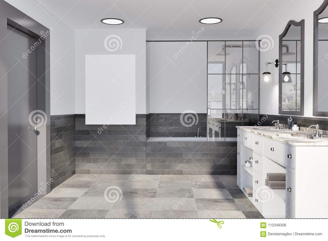 White And Brick Wall Bathroom, Poster Stock Illustration ...