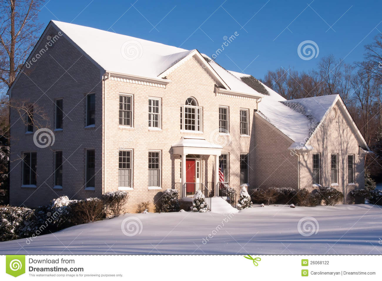 White Brick House At Dawn With Snow Stock Photography