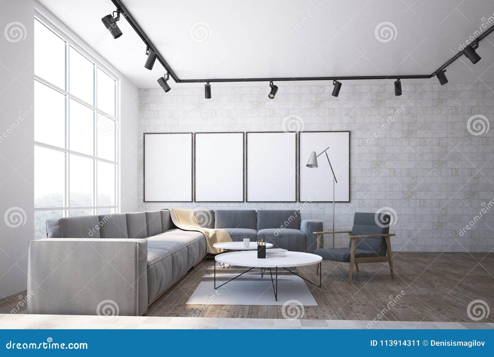 White Brick Scandinavian Living Room Interior Stock Illustration