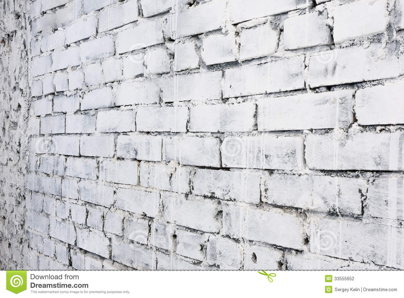 White Brick Wall Background In Perspective Stock Photo