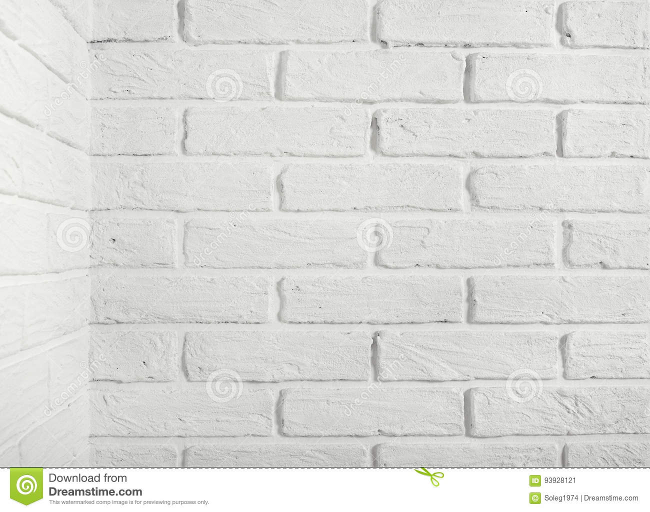 White Brick Wall With Corner Abstract Background Photo Stock Image