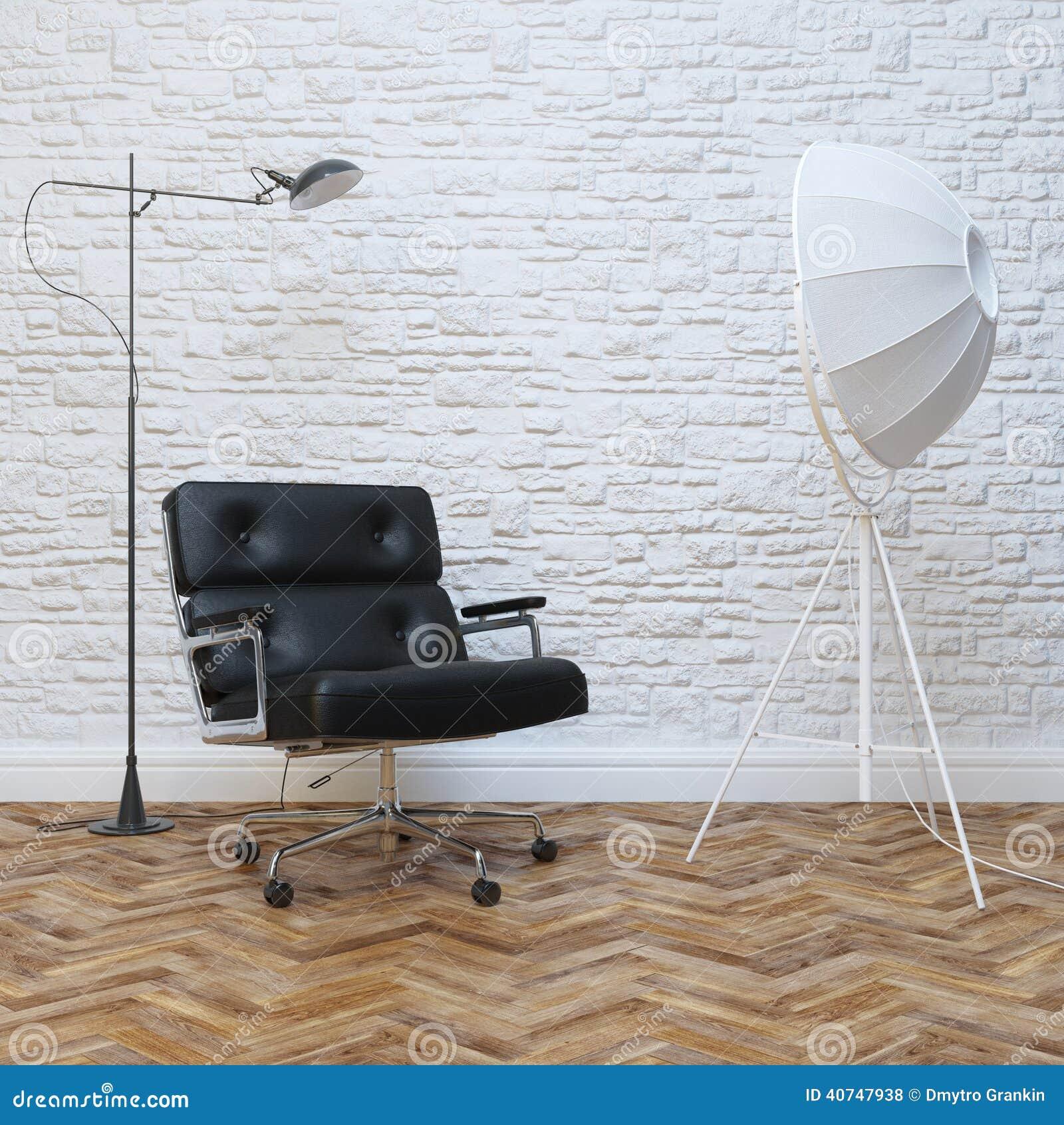 Armchair Brick Interior Lighting Office Wall White ...