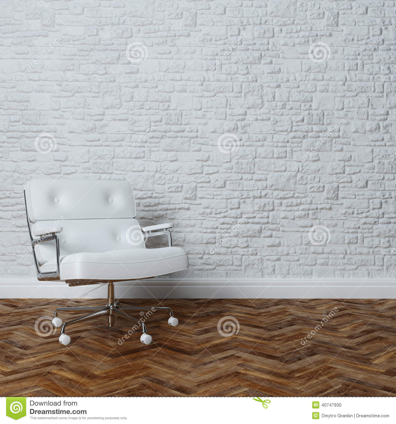 White Brick Wall Interior With White Leather Office